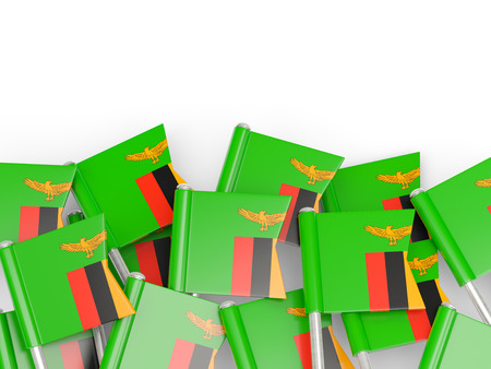 zambia: Flag pin of zambia isolated on white