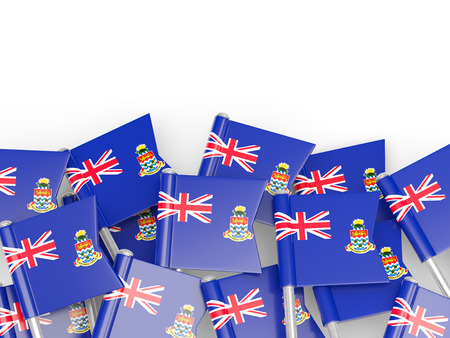 Flag pin of cayman islands isolated on white photo