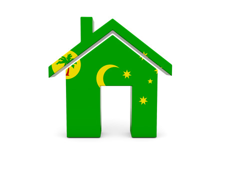 cocos: Home with flag of cocos islands isolated on white