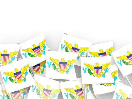 find us: Flag pin of virgin islands us isolated on white Stock Photo