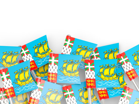 pierre: Flag pin of saint pierre and miquelon isolated on white