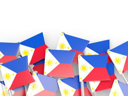 bandera blanca: Pin de la bandera de Filipinas aislado en blanco