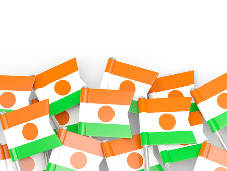 niger: Flag pin of niger isolated on white