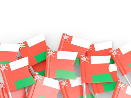 oman: Flag pin of oman isolated on white