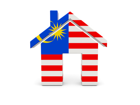 malaysia: Home with flag of malaysia isolated on white Stock Photo