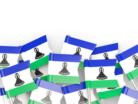 lesotho: Flag pin of lesotho isolated on white