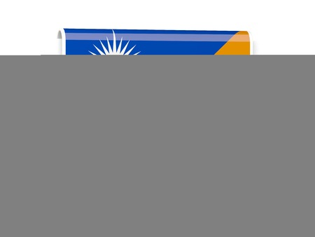 marshall: Square flag label of marshall islands isolated on white