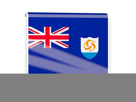 anguilla: Square flag label of anguilla isolated on white