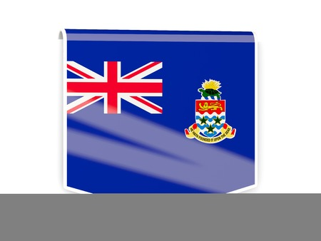 cayman islands: Sqare flag label of cayman islands isolated on white Stock Photo