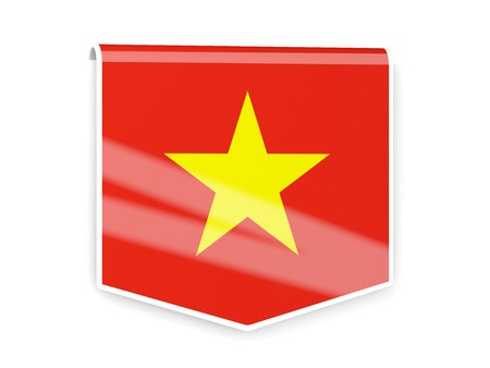 Square flag label of vietnam isolated on white photo