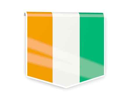 cote ivoire: Square flag label of cote d Ivoire isolated on white Stock Photo