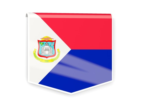 sint: Square flag label of sint maarten isolated on white
