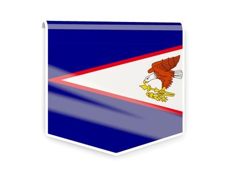 samoa: Sqare flag label of american samoa isolated on white