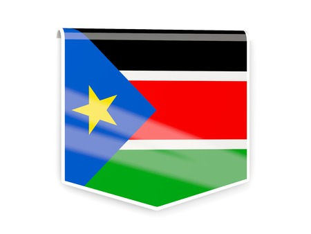 south sudan: Square flag label of south sudan isolated on white