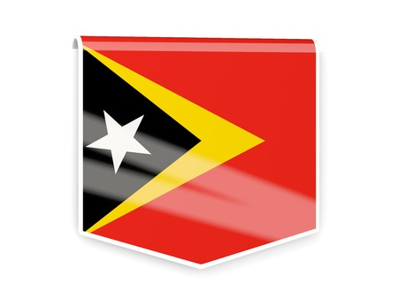 timor: Sqare flag label of east timor isolated on white