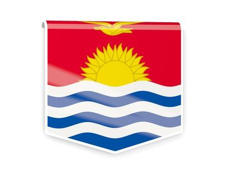 kiribati: Sqare flag label of kiribati isolated on white