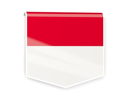 Square flag label of monaco isolated on white photo