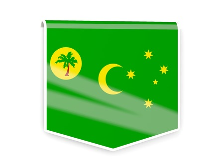 cocos: Square flag label of cocos islands isolated on white Stock Photo