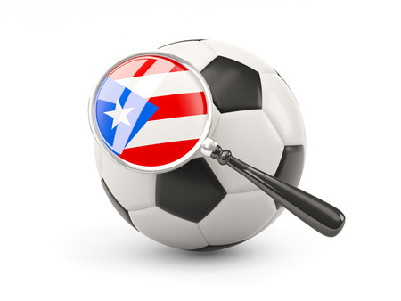 puerto: Football with magnified flag of puerto rico isolated on white
