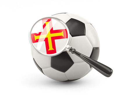 guernsey: Football with magnified flag of guernsey isolated on white