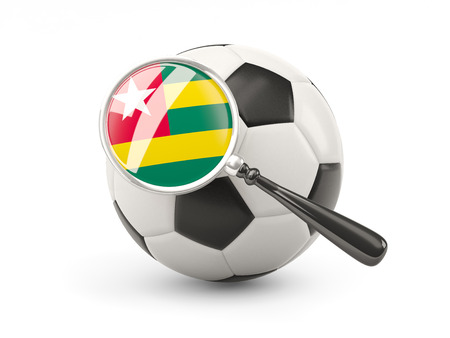 togo: Football with magnified flag of togo isolated on white