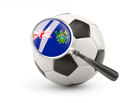 pitcairn: Football with magnified flag of pitcairn islands isolated on white Stock Photo