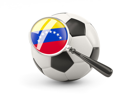 Football with magnified flag of venezuela isolated on white photo