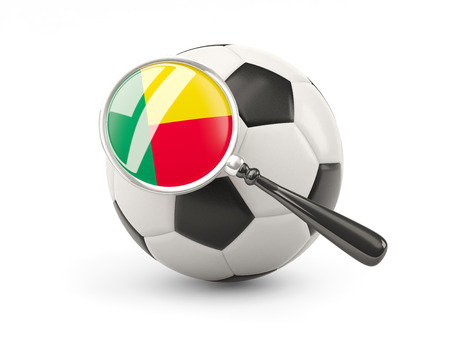 benin: Football with magnified flag of benin isolated on white Stock Photo