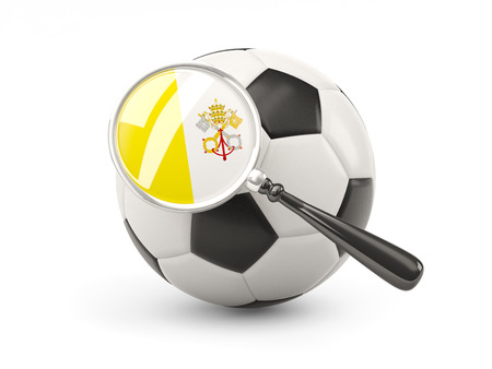 vatican city: Football with magnified flag of vatican city isolated on white Stock Photo