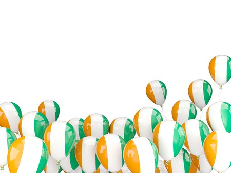 cote ivoire: Flying balloons with flag of cote d Ivoire isolated on white