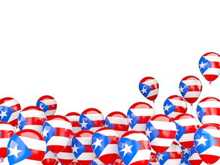 bandera de puerto rico: Globos del vuelo con la bandera de Puerto Rico aislados en blanco