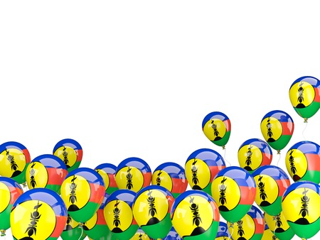 new caledonia: Flying balloons with flag of new caledonia isolated on white Stock Photo