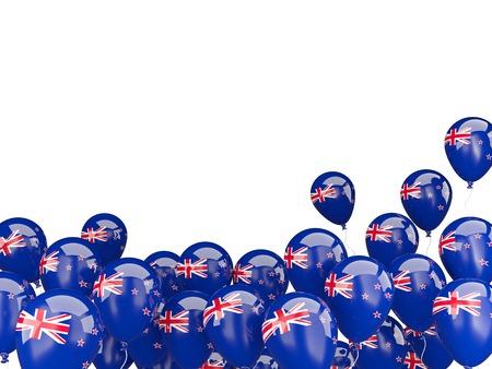 bandera de nueva zelanda: Globos del vuelo con la bandera de Nueva Zelanda aislado en blanco