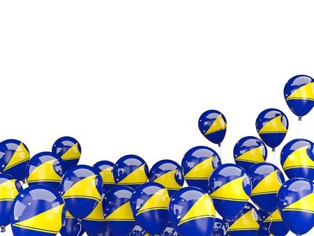 tokelau: Flying balloons with flag of tokelau isolated on white