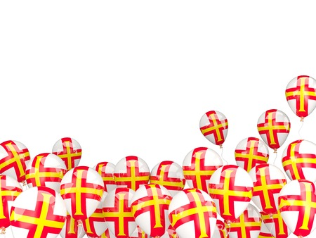 guernsey: Flying balloons with flag of guernsey isolated on white