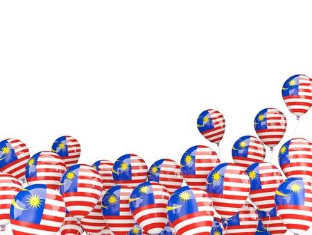 bandera blanca: Globos del vuelo con la bandera de Malasia aislado en blanco
