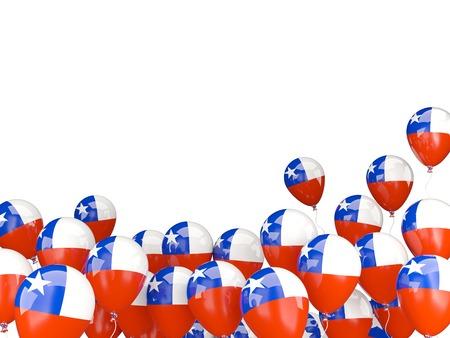 Vliegende ballons met vlag van Chili geïsoleerd op wit Stockfoto