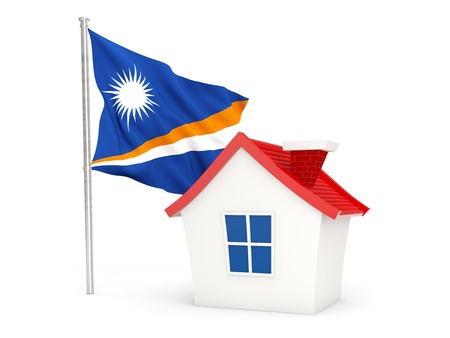 marshall: House with flag of marshall islands isolated on white Stock Photo