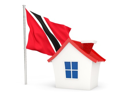 national flag trinidad and tobago: House with flag of trinidad and tobago isolated on white