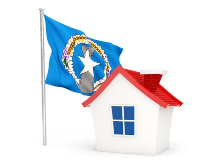 mariana: House with flag of northern mariana islands isolated on white