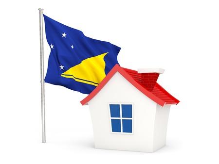 tokelau: House with flag of tokelau isolated on white