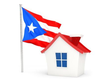 bandera de puerto rico: Casa con la bandera de Puerto Rico aislado en blanco
