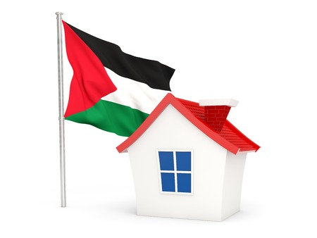 palestinian: House with flag of palestinian territory isolated on white Stock Photo