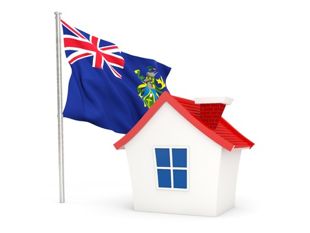pitcairn: House with flag of pitcairn islands isolated on white
