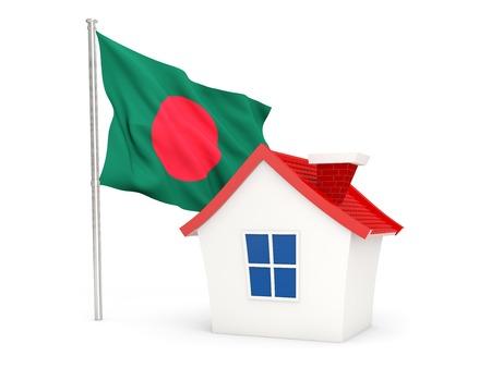 national flag bangladesh: House with flag of bangladesh isolated on white