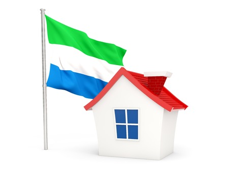 sierra leone: House with flag of sierra leone isolated on white Stock Photo