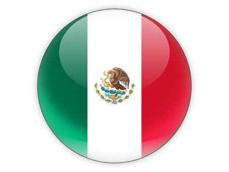 Icône ronde avec le drapeau du Mexique isolé sur blanc Banque d'images - 41995030