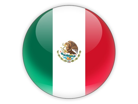 mexico background: Round icon with flag of mexico isolated on white