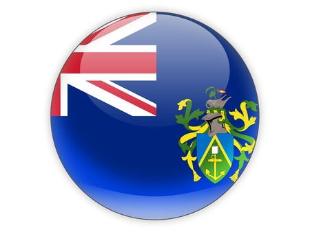 pitcairn: Round icon with flag of pitcairn islands isolated on white Stock Photo