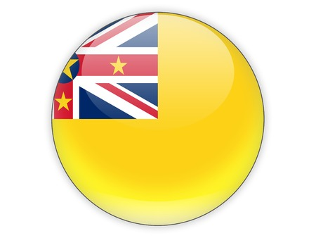 niue: Round icon with flag of niue isolated on white